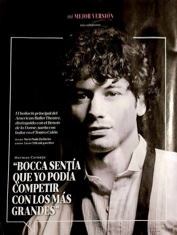 Tear sheet from La Nación featuring a portrait of Herman Cornejo by Lucas Chilczuk